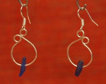Pretty Silver Earrings with Blue Sea Glass, beach jewelery       * Free UK Shipping *