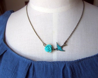 Turquised rose with teal patina  sparrow  connected antique bronze chain necklace 16inch