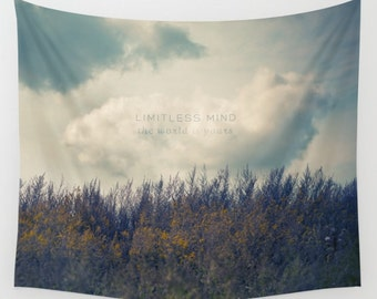 wall tapestry of nature photography and inspiring quote- clouds-sky-blue-purple-green-landscape photo- wall art