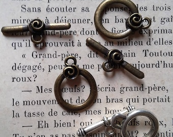 set of 3 metal clasps silver and bronze metal