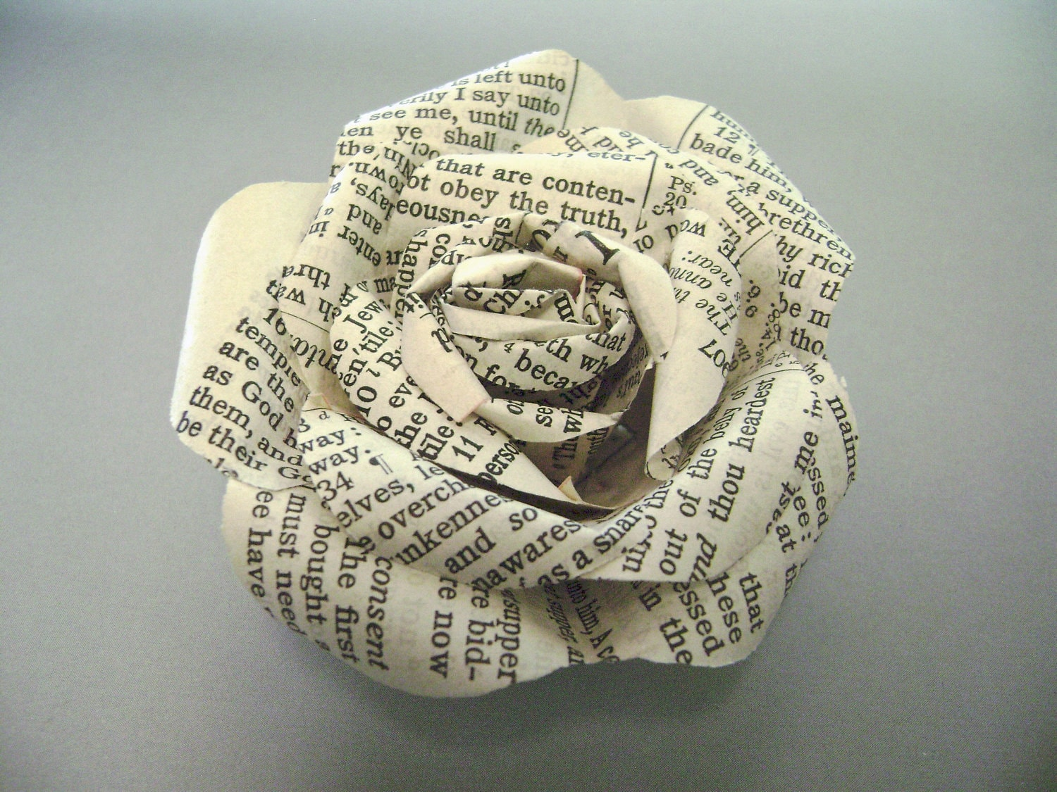 Bible Paper Flower Rose Pin Made With Vintage Bible Pages
