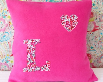 Liberty Floral Initial Personalised Cushion
