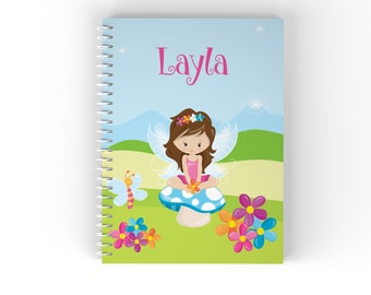 Fairy Personalized Notebook - Fairy Girl Blue Sky Green Grass Flowers with Name, Customized Spiral Notebook Back to School