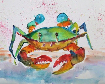Blue Crab watercolor painting 9x12 Art by Delilah