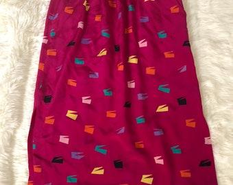 Vintage silk Neiman Marcus skirt colorful print XS
