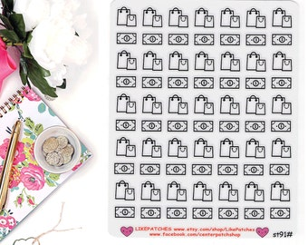 CLEAR Planner Stickers, Shopping Planner Stickers, Shopping Bag Stickers, Money Planner Stickers, Happy Planner Stickers (st91#)