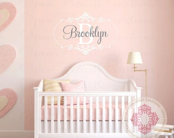 Baby Initial and Name Wall Decal with Elegant Shabby Chic Accents and Polka Dots - Nursery Girl Vinyl Monogram FN0509