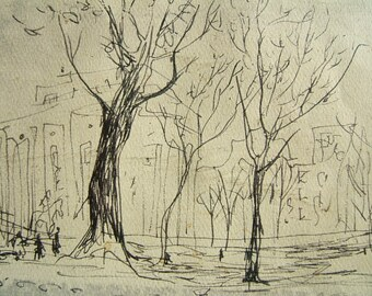 """TREES in fall - pencil drawing by Dorothy Messenger - """"Trees"""". copy on PLAIN acid free paper at Palais de Chaillot in 1949"""