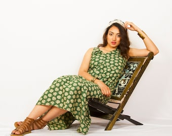 Muted green and beige printed SHINE LIKE A MORNINGSUN dress, Block printed, relaxed fit flowy maxi dress with hi-low hem, ties at the back.
