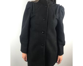 1970s black wool military coat by THE LEGEND