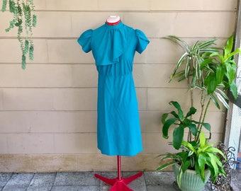 Vintage Secretary Dress / Ruffle Teal / Small Medium