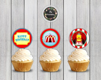 Printable cupcake topper, circus theme, circus party, digital, lion, circus lion, carnival,instant download, red, happy birthday, cute