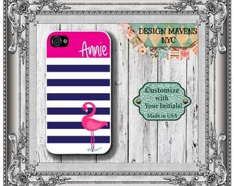 Preppy Flamingo Stripe iPhone Case, Personalized iPhone Case, iPhone 4, iPhone 4s, iPhone 5, iPhone 5s, iPhone 5c, iPhone 6, Phone Case