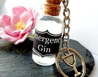 Emergency Gin Keyring - Mini Bottle Of Gin - Vial Of Gin - Gin Gift - Gin & Tonic Charm
