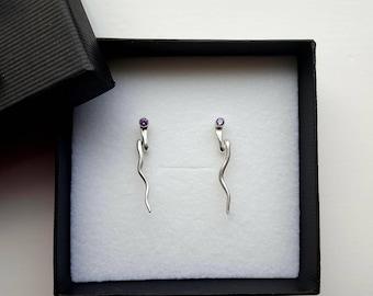 Sterling silver earrings, snake earrings, earrings with cubic zirconia, serpent earrings, snake stud earrings, cubic zirconia jewellery