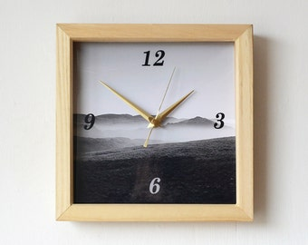 Mountains Wall Clock - Photo Wall Clock - Hills Photo Clock - Lake District Clock - Misty Mountains - Black and White Photography