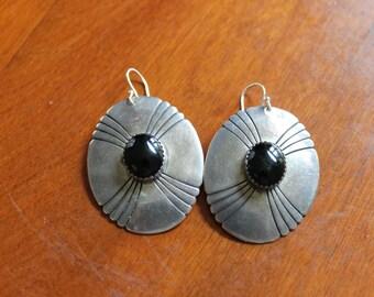 Vintage Sterling Silver Pierced Earrings with Black Onyx