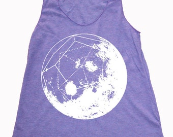 Women's GeoMoon Dodecahedron Full Moon Sacred Geometry Space Tank Top
