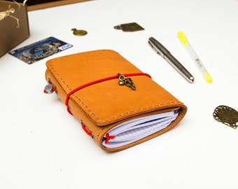 Trifold Passport Size Midori Travelers Leather Notebook with Three Inserts Grids Lines or Blanks 192 pages