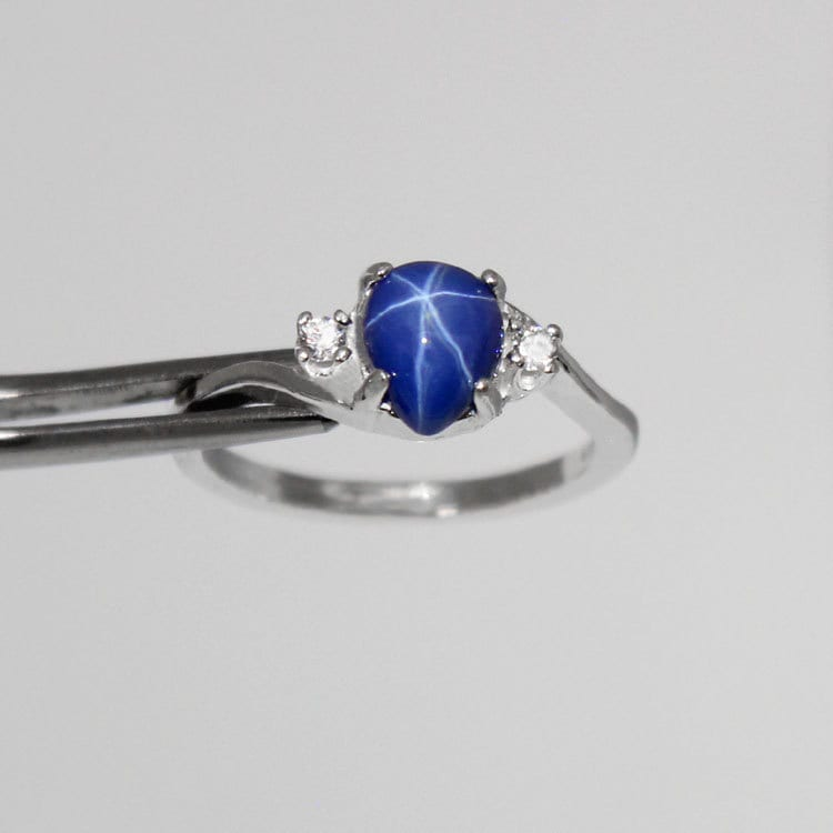 Finest Cornflower Blue Star Sapphire Sterling Silver Ring with TN62