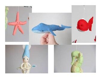 felt pattern ornaments, 5 nautical animals, baby mobile diy, DIY sea animal crib mobile, pattern, whale, squid, star fish, sea horse