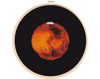 Mars Cross Stitch Pattern - Planet Cross Stitch - Solar System Cross Stitch Pattern - Cross Stitch Mars - Space Cross Stitch Pattern