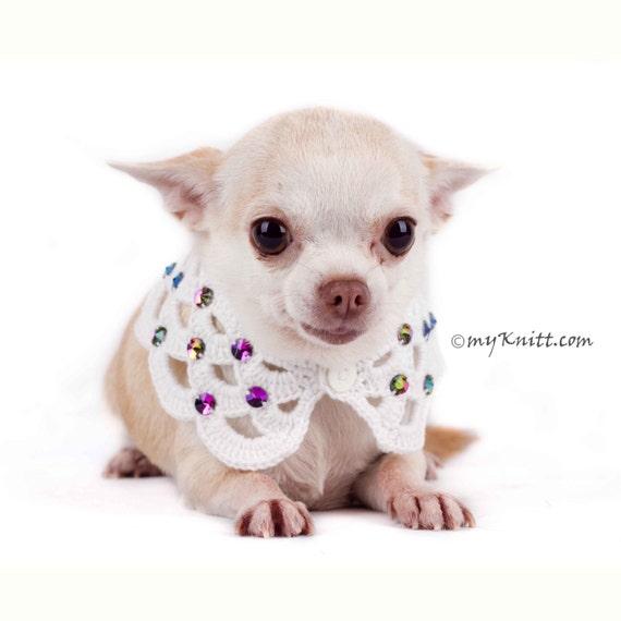 Weißer Hund Halskette schöne häkeln mit Strass Hundehalsband