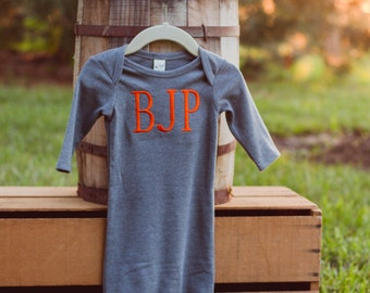 Monogrammed Baby Gown | Newborn Gown | Baby Boy Layette | Baby Shower Gift | Take Home Outfit | Infant Gown | Baby Boy Gown | Baby Gift