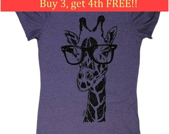 Womens T Shirt - Funny Womens T Shirts Bella Canvas - Giraffe T Shirt - Beach Tshirt - Womens Animal Tees - Screen Printed Purple Tee Shirts