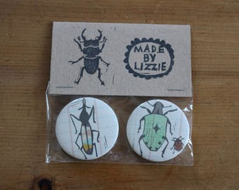 Beetles, Set of 2 Badges