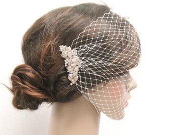 Wedding Veil,Birdcage Veil, Bridal Veil,Bridal Comb,Bandeau Birdcage Veil,Blusher Bird Cage Veil,Detachable Pearl Rhinestone Hair Comb,Rose