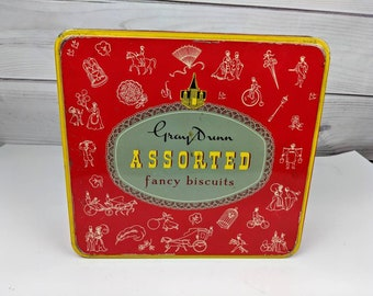 Vintage Gray Dunn Assorted Fancy Biscuit Tin Can Container Empty Box