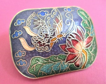 Cloisonne Scarf Slide or Belt Buckle Butterfly & Lotus Blossom Vintage Accessory Asian Jewelry Lilac Red Enamel Gold Scarf or Belt Clip