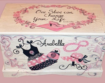 Glamour Girl Shabby Chic Toy Chest Custom Designed done with Monogram or Name, kids furniture, art and decor, wooden toy box