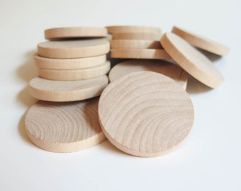 Unfinished Wood Discs Coins Circles - 2 inch (5 cm) | Wooden Discs - Set of 25