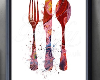 Kitchen Cutlery Fork Knife Spoon Watercolor Art Print - Watercolor Art Painting - Dining Room Art - Kitchen Decor - House Warming Gift-K3