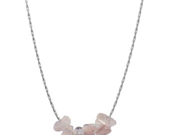 Rose quartz necklace gold or silver plated
