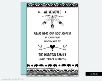 Change of Address Printable Card | Bohemian Tribal | Moving Announcement | New Address Card | New Home | Housewarming Invitation | A6 Cards
