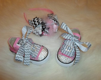 Chevron Headband and shoe Set adorable for easter spring all year round great for picture with easter bunny
