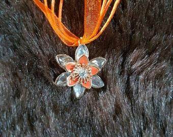 Orange flower ribbon necklace