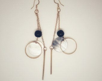 Metal mixed media earrings with hoops
