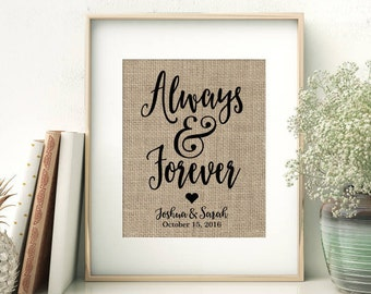 Always & Forever | Always and Forever | Personalized Burlap Print | Love Quote Wedding Anniversary Gift | Calligraphy Print