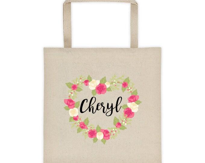 Floral Heart Personalize Name Tote bag   Personalized Tote Bag   Floral Tote Bag   Bridesmaid Tote Bag   Laurel Tote bag   Custom Tote bag