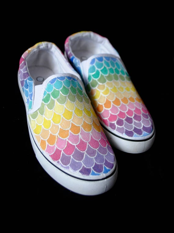 shoes shoes scales rainbow rainbow handpainted vans rainbow shoes pastel mermaid personalized converse mermaid Custom 4UwCqxAw