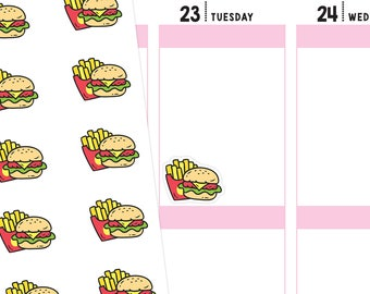 Fast Food Planner Stickers, Fast Food Stickers, Hamburger Stickers, French Fry Stickers, Hamburger Planner Stickers