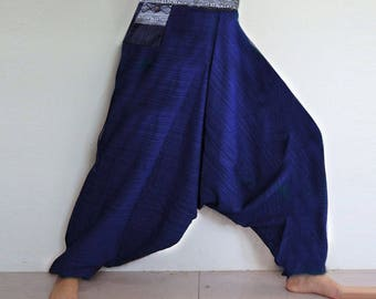 Rough cotton harem pants in a natural. Navy Blue
