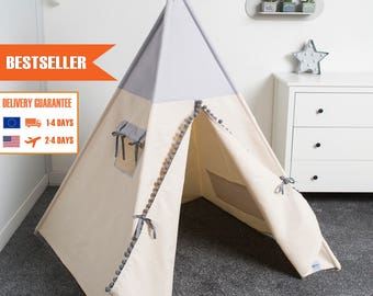children teepee tent, kids play tent, tipi, teepee tent, indian wigwam JUST GREY
