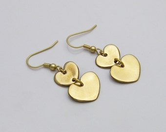 Golden Bronze Heart Earrings, Handmade Heart Earrings, Handmade Bronze Earrings, Bronze Heart Earrings, Heart Dangle Earrings