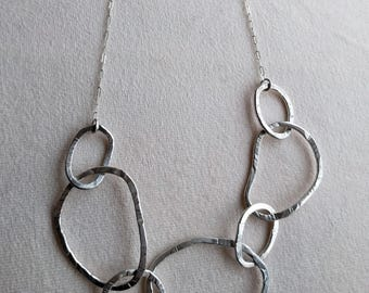 Handmade hammered sterling silver circles necklace with sterling silver chain