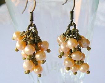 Cluster of Pastel Pink Freshwater Pearls, Earrings